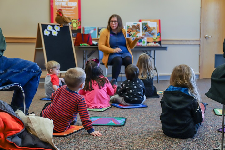 Photo of preschool aged children at story time