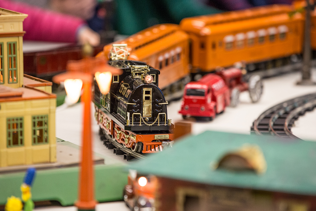 Model trains move around the track