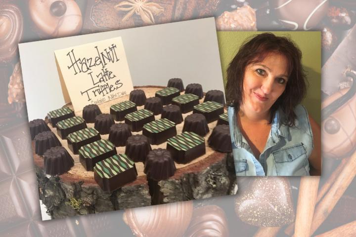 smiling woman with hazelnut truffles