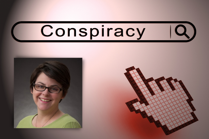 Dr. Andria Woodell Headshot against Web URL Background Reading Conspiracy