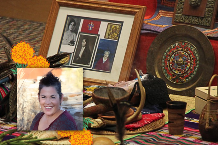 Ofrenda with smiling woman in foreground